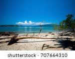 Small photo of Beach of Ross Island original set up as Residential Headquarters for British Administration of Indian Penal Settlement in Andaman Islands but today is Abandoned Entirely, South Andaman District,India.