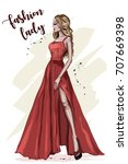 beautiful young woman in red... | Shutterstock .eps vector #707669398