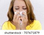 young asian woman got sick and... | Shutterstock . vector #707671879