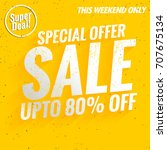 sale banner template on yellow... | Shutterstock .eps vector #707675134