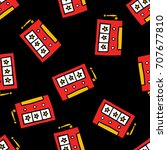 slot machine seamless doodle...   Shutterstock .eps vector #707677810