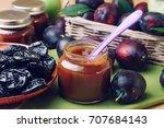natural baby food concept  jar... | Shutterstock . vector #707684143