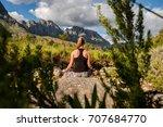 female doing yoga in nature... | Shutterstock . vector #707684770