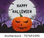 pumpkin  cemetery  bats  and ... | Shutterstock .eps vector #707691490
