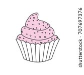 cupcake delicious dessert | Shutterstock .eps vector #707697376