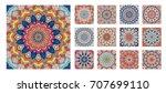 flower pattern tiles set.... | Shutterstock .eps vector #707699110