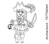 cute girl in pirate costume... | Shutterstock .eps vector #707706064