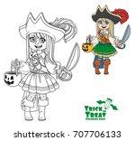 cute girl in pirate costume... | Shutterstock .eps vector #707706133
