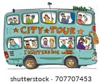 open top double decker bus full ... | Shutterstock .eps vector #707707453