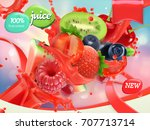 mix fruits and berries. splash... | Shutterstock .eps vector #707713714