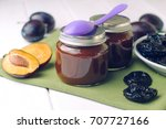 natural baby food concept  jars ... | Shutterstock . vector #707727166