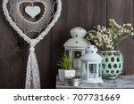 bedroom decor on brown wooden...   Shutterstock . vector #707731669