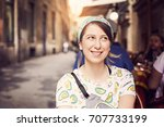beautiful caucasian woman... | Shutterstock . vector #707733199