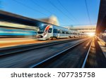 high speed train in motion at... | Shutterstock . vector #707735758