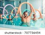 aqua aerobics exercises  women...   Shutterstock . vector #707736454