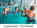 aqua aerobics exercises  women... | Shutterstock . vector #707736469
