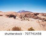 volcano ollague  between...   Shutterstock . vector #707741458