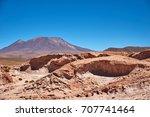volcano ollague  between...   Shutterstock . vector #707741464