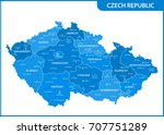 the detailed map of the czech... | Shutterstock .eps vector #707751289
