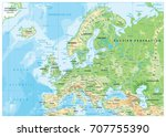 europe physical map. detailed... | Shutterstock .eps vector #707755390