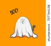 vector scary playful cat ghost... | Shutterstock .eps vector #707764138