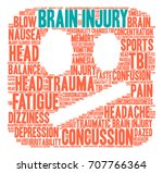 brain injury word cloud on a...   Shutterstock .eps vector #707766364