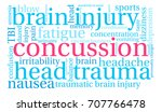 concussion word cloud on a...   Shutterstock . vector #707766478