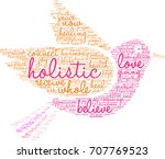 holistic word cloud on a white... | Shutterstock . vector #707769523
