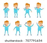 set of blonde doctor characters ... | Shutterstock .eps vector #707791654