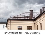 house with brown metal wet roof ... | Shutterstock . vector #707798548