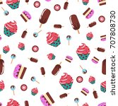 cakes and sweets  seamless... | Shutterstock .eps vector #707808730