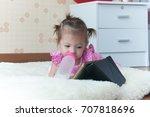 cute child 1 year 2 months... | Shutterstock . vector #707818696
