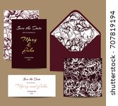 a set of invitation cards for... | Shutterstock .eps vector #707819194