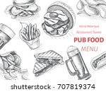 vector sketch of fast food pub... | Shutterstock .eps vector #707819374