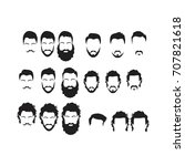 hipster vector set  hair and... | Shutterstock .eps vector #707821618