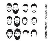 hipster vector set  hair and... | Shutterstock .eps vector #707821630