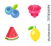 fruit vector icons | Shutterstock .eps vector #707824096