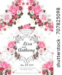 template of wedding invitation... | Shutterstock .eps vector #707825098