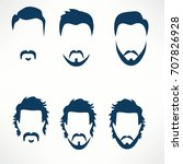 hipster vector set  hair and... | Shutterstock .eps vector #707826928
