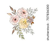 watercolor and ink illustration.... | Shutterstock . vector #707836300