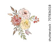 watercolor and ink illustration.... | Shutterstock . vector #707836318