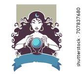 fortune teller  beautiful gypsy ... | Shutterstock .eps vector #707837680