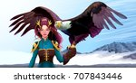 eagle trainer elf on the... | Shutterstock .eps vector #707843446