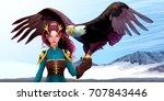 eagle trainer elf on the... | Shutterstock .eps vector #707843446