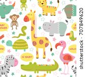 Stock vector seamless pattern with baby jungle animals on white background vector illustration eps 707849620