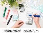 designer woman drawing website... | Shutterstock . vector #707850274