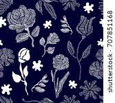 vintage garden. floral seamless ... | Shutterstock .eps vector #707851168