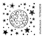 hand drawn moon and stars...   Shutterstock .eps vector #707863858