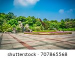public square with empty road... | Shutterstock . vector #707865568