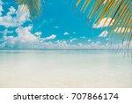 beautiful nature green palm... | Shutterstock . vector #707866174